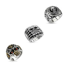 Men's Stainless Steel Biker Ring XXL Solid Skull Gothic Silver Thumb Ring