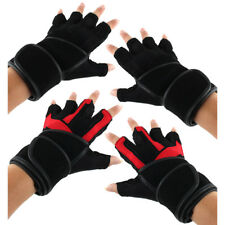 BOODUN Authorized Men PU Leather Sports Workout Half Finger Fitness Gloves Pair
