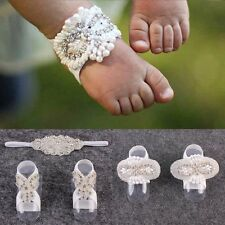 3pcs/set Baby Girl Kids Barefoot Sandals Shoes Headband Crystal Flower Foot Band