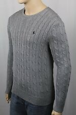Polo Ralph Lauren Grey Crewneck Cable-knit Sweater Navy Blue Pony NWT