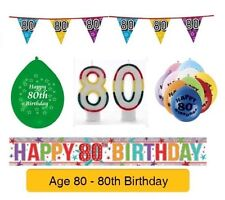 AGE 80 - Happy 80th Birthday Party Balloons, Banners & Decorations
