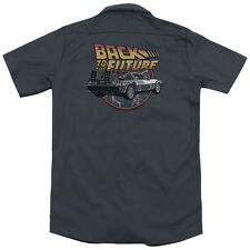 Back To The Future Time Machine (Back Print) Mens Work Shirt CHARCOAL