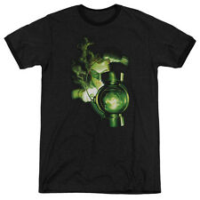 Green Lantern Lantern Light Mens Adult Heather Ringer Shirt Black