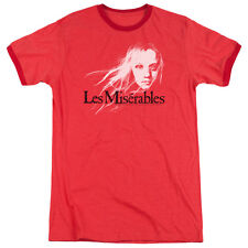 Les Miserables Textured Logo Mens Adult Heather Ringer Shirt Red