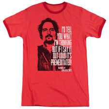 Sons Of Anarchy With Tig Mens Adult Heather Ringer Shirt Red