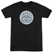 Green Lantern White Symbol Mens Adult Heather Ringer Shirt Black