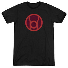 Green Lantern Red Symbol Mens Adult Heather Ringer Shirt Black