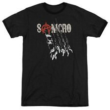 Sons Of Anarchy Rip Through Mens Adult Heather Ringer Shirt Black