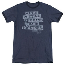 Blues Brothers Band Back Mens Adult Heather Ringer Shirt Navy