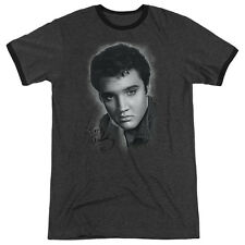 Elvis Presley Grey Portrait Mens Adult Heather Ringer Shirt Charcoal