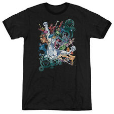 Green Lantern Lanterns Unite Mens Adult Heather Ringer Shirt Black