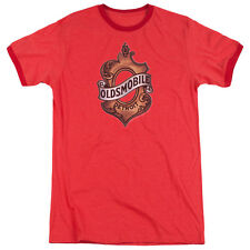 Oldsmobile Detroit Emblem Mens Adult Heather Ringer Shirt Red
