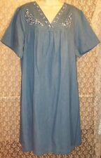 Go Softly Cotton Patio Jeans Dress Duster Pull-On Blue Denim w Floral Embrdry