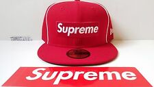 SUPREME New Era Piping Box Logo Fitted hat Cap SS2017 SIZE 7 1/4 (RED)