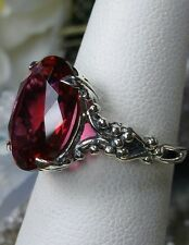 6ct Oval *Ruby* Sterling Silver Gothic Claw Filigree Ring Size: {Made To Order}