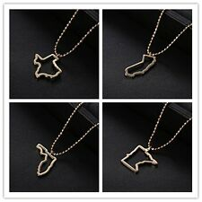 USA State Map Pendant Long Necklace Beaded Chain Womens Fashion Party Jewelry