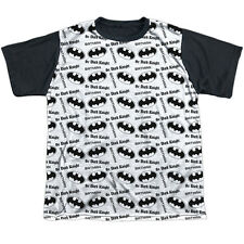 Batman Repeat Dark Knight Big Boys Youth Sublimated Shirt with Black Back (White