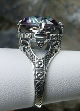 6ct *Mystic Topaz* Sterling Silver 925 Victorian Leaf Filigree Ring Size Any/MTO