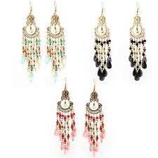 Women Ladies Fish Hook Beads Decor Dangling Pendant Earrings Pair