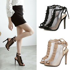 Women's Shoes Pumps Stiletto Mesh High Heels Wedding Party Sandals Open Toe
