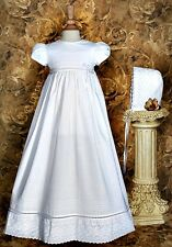 Baby Girls White Christening Dress Baptism Gown Intricate Lace Cotton 0-12M CO26