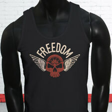 FREEDOM BIKER SKULL MOTORCYCLE EVIL  Mens Black Tank Top