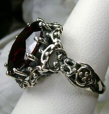 10ct Round *Red Garnet* Solid Sterling Silver Gothic Filigree Ring Size: Any/MTO