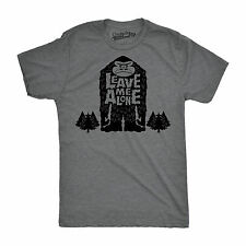 Mens Leave Me Alone Funny Sasquatch Big Foot Yeti Outdoor T shirt