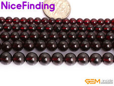 AAA Natural Red Garnet Round Gemstone Beads For Jewelry Making Loose Stone 15""
