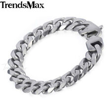 14.5mm Boys Mens Chain Bracelet Silver 316L Stainless Steel Cut Curb Cuban Link