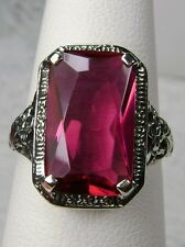 5ct *Ruby* Solid Sterling Silver Floral Nouveau Filigree Ring [Made To Order]