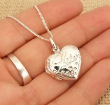 925 Sterling Silver Engraved Sister Heart Locket Pendant Necklace Jewellery