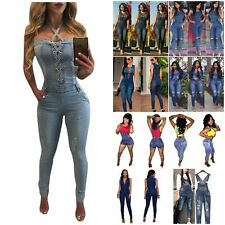 Women Ladies Celeb Denim Jeans Pinafore Overall Jumpsuit Dungaree Playsuit Dress