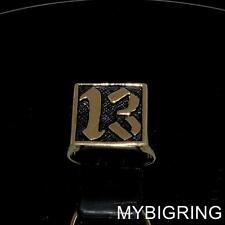 SQUARE BRONZE MENS BIKER RING LUCKY NUMBER THIRDTEEN 13 OUTLAW ANTIQUED ANY SIZE