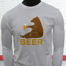 BEER BEAR FUNNY DRINKING PARTY DRUNK HUMOR LIT Mens White Long Sleeve T-Shirt