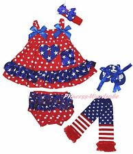 1ST Heart 4th July Star Red Dot Baby Swing Top Bloomer Leg Warmer Shoes Set 0-2Y