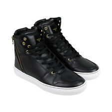 Creative Recreation Adonis Mens Black Leather High Top Zip Up Sneakers Shoes