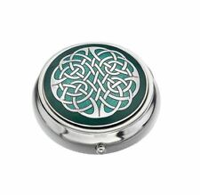 Sea Gems Gift Boxed Enamelled Celtic Knot Silver Plated Pillbox Red or Green