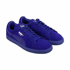 Puma Suede Classic Mono Reptile Mens Blue Suede Lace Up Sneakers Shoes