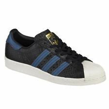 Adidas Superstar 80s Black Blue Mens Retro Lace Up Trainers Leather