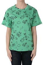 GOLDEN GOOSE Women Green Printed Cotton T-Shirt Made in Italy NWT