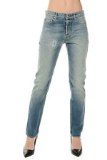 GOLDEN GOOSE DELUXE BRAND New Woman Blue Denim Cotton Jeans Pants Made ITALY