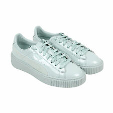 Puma Basket Platform Patent Womens Blue Patent Leather Lace Up Sneakers Shoes