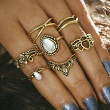 7Pcs Women Vintage Silver/Gold Gem Midi Above Knuckle Band Rings Jewellery Set