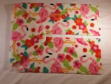 Pink Flamingos with Flowers on White Fleece Scarf