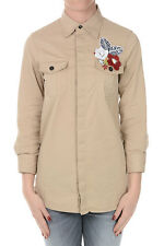 DSQUARED2 New Women Beige Cotton Stretch Blouse Shirt Original Made in Italy NWT