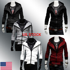 US SHIP Men's Slim Outwear Coat Outdoor Zip Sweatshirt Hoddies Jacket Sweater