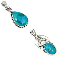 925 sterling silver chrysocolla pendant jewelry by jewelexi 8210A
