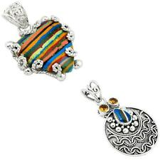 925 sterling silver rainbow calsilica pendant jewelry by jewelexi 8543A