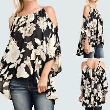 Women Floral 3/4 Sleeve Off Shoulder Loose Casual Swing Tops Shirt Blouse G7M8